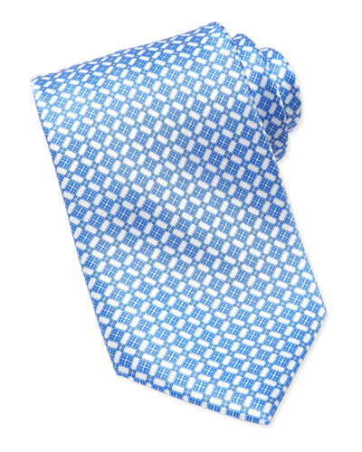 Stefano Ricci Micro-Floral Silk Tie, Navy