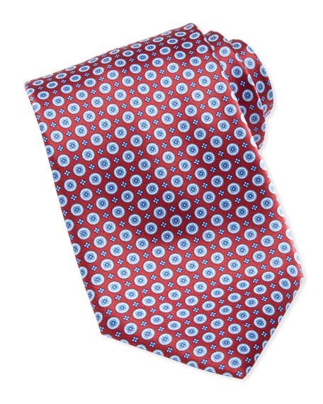 Circle-Medallion Silk Tie, Red/Blue