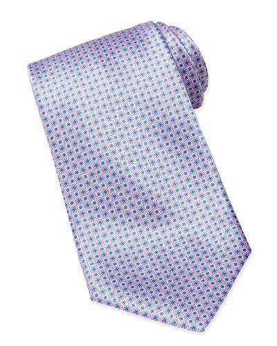 Stefano Ricci Micro Medallion Silk Tie, Navy/Pink