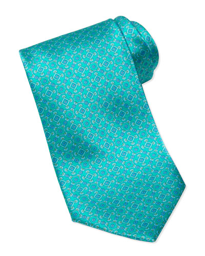 Stefano Ricci Square Medallion Silk Tie, Teal