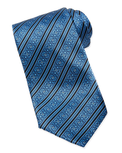 Stefano Ricci Filigree Striped Silk Tie, Blue
