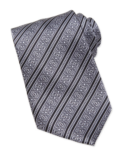 Stefano Ricci Filigree-Stripe Silk Tie, Black/Silver