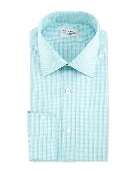 Plaid Barrel-Cuff Dress Shirt, Green