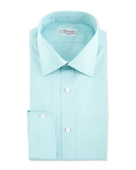 Charvet plaid barrel cuff dress shirt green for Mens dress shirts with cufflink holes