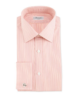 Charvet Striped French-Cuff Dress Shirt, Orange