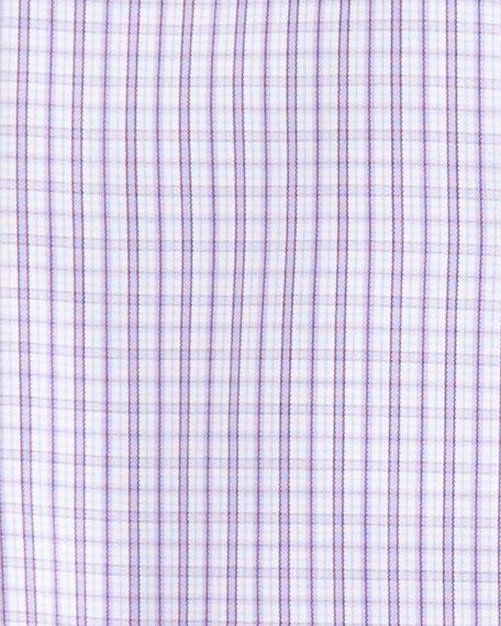 Plaid Barrel-Cuff Dress Shirt, Berry/White