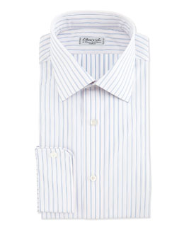 Charvet Striped Barrel-Cuff Dress Shirt, Blue/White