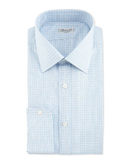 Charvet Plaid Barrel-Cuff Dress Shirt, Blue/White