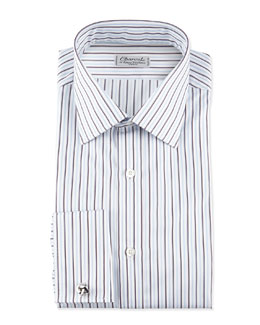 Charvet Striped French-Cuff Poplin Dress Shirt, Blue/White