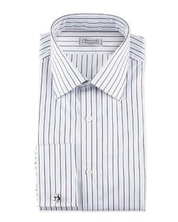Charvet Striped French-Cuff Poplin Dress Shirt, Blue/White