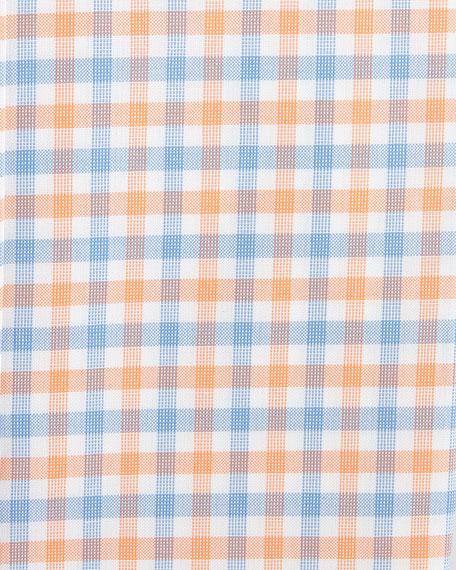 Plaid Barrel-Cuff Dress Shirt, Orange/Blue