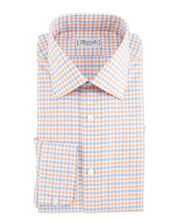 Charvet Plaid Barrel-Cuff Dress Shirt, Orange/Blue