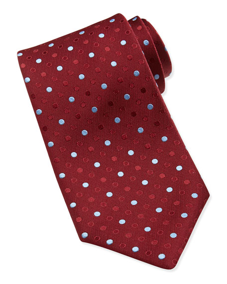 Dotted Silk Tie, Red/Blue