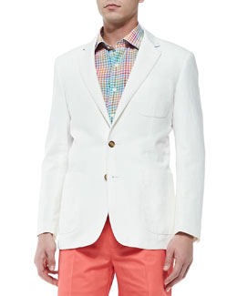 Peter Millar Two-Button Linen-Cotton Jacket, White