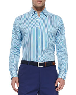 Peter Millar Multi-Stripe Sport Shirt, Blue
