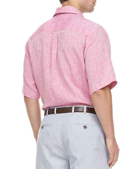Linen Short-Sleeve Shirt, Pink