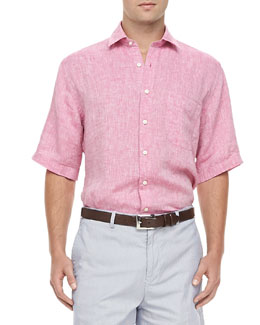 Peter Millar Linen Short-Sleeve Shirt, Pink