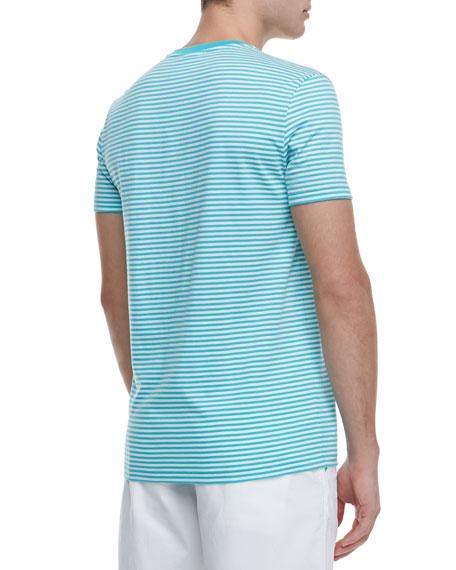 Striped Jersey V-Neck Tee, Green/White