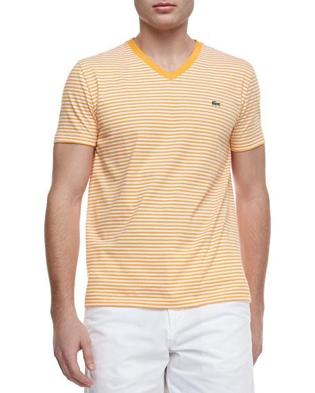 Striped Jersey V-Neck Tee, Orange/White