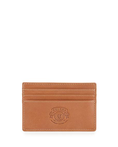 Slim Leather Card Case, Chestnut