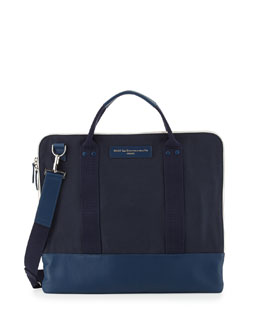 WANT Les Essentiels de la Vie Heathrow Canvas and Leather Messenger Bag, Blue