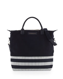 WANT Les Essentiels de la Vie O'Hare Men's Striped Canvas Tote Bag, Navy/White