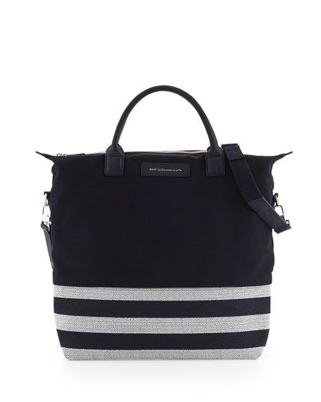 O'Hare Men's Striped Canvas Tote Bag, Navy/White