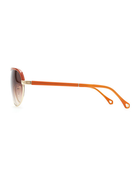 Metal & Acetate Aviator Sunglasses, Gold Orange
