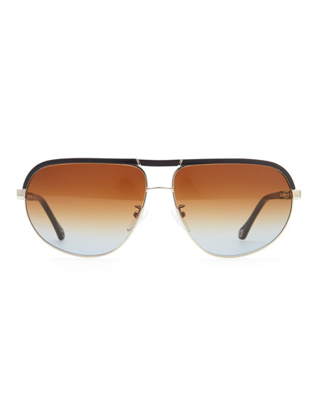 Metal & Acetate Aviator Sunglasses, Navy