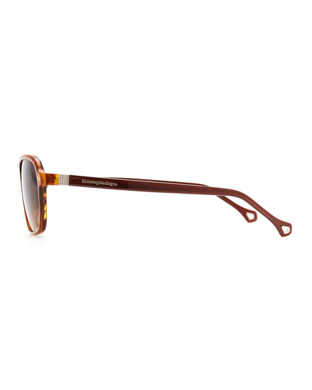 Acetate Modified-Square Sunglasses, Light Brown
