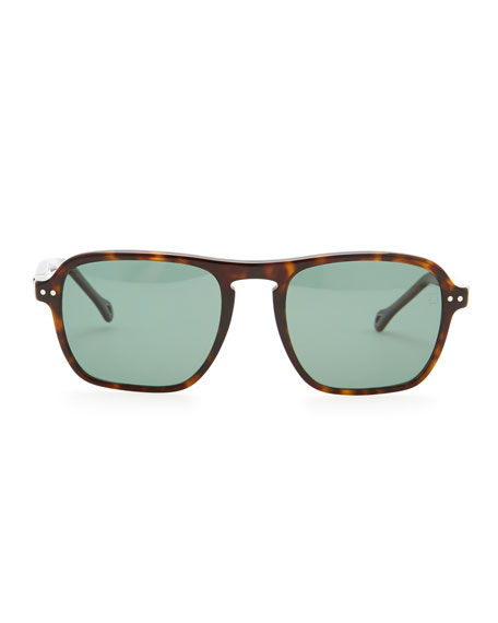 Acetate Modified-Square Polarized Sunglasses, Dark Havana