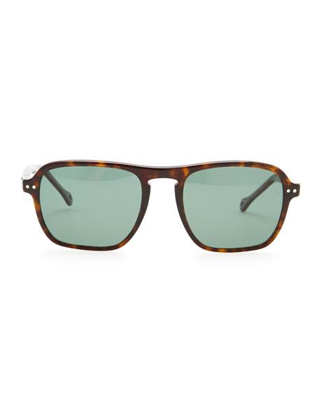 Acetate Modified-Square Polarized Sunglasses, Dark Havana
