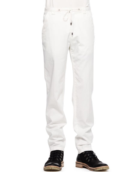 Straight Drawstring Twill Trousers