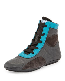 Prada Runway Tricolor Boxing Boot, Gray/Turquoise/Brown