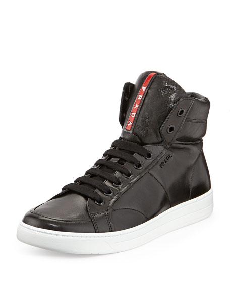 Avenue Men's Leather High-Top Sneaker, Black