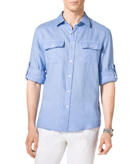 MICHAEL KORS  Two-Pocket Linen Shirt