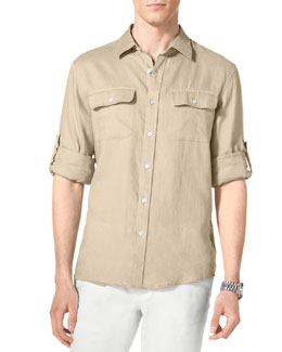 MICHAEL KORS  Linen Two-Pocket Shirt