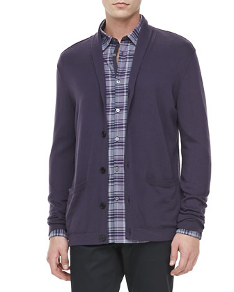 Shawl-Collar Sweater, Purple