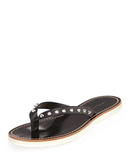 Studded Leather Thong Sandal, Black
