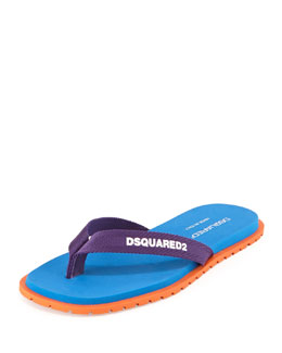 Dsquared2 Nylon Thong Sandal, Blue