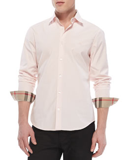 Burberry Brit Slim-Fit Stretch-Cotton Dress Shirt, Pale Pink