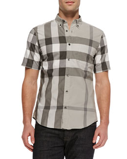 Burberry Brit Exploded Check Short-Sleeve Shirt