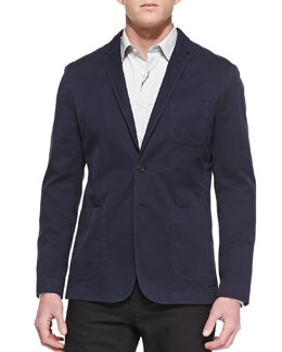 Burberry Brit Cotton Two-Button Blazer, Navy