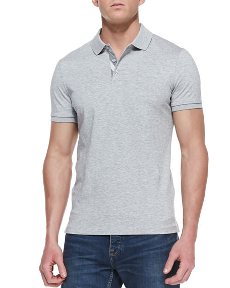 Check-Detail Short-Sleeve Polo, Gray