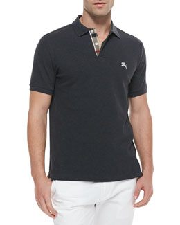 Burberry Brit Modern Fit Short-Sleeve Polo Shirt, Gray