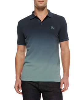 Burberry Brit Ombre Equestrian Knight Polo, Blue