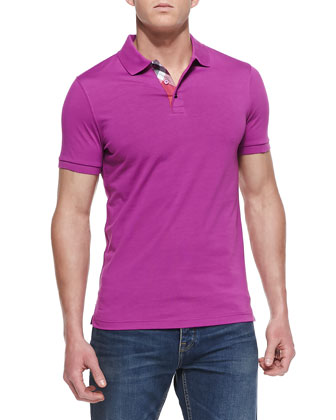 Check-Detail Short-Sleeve Polo, Aubergine