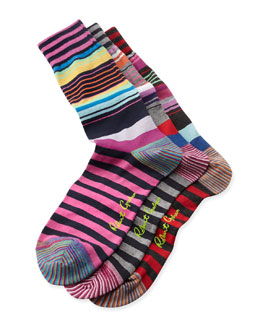 Robert Graham Magnificent Stripe Socks, 3-Pack