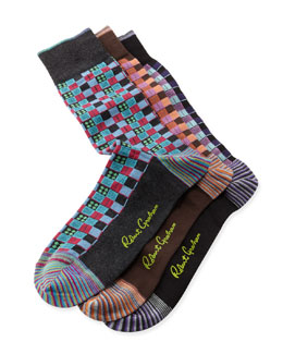Robert Graham Paul Square Socks, 3-Pack