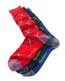 Robert Graham Martial Baseball Socks, 3-Pack